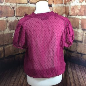 Hypnotik Tops - Hypnotik XL sheer magenta ruffle neck blouse